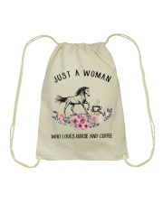 Horse - Just A Woman Who Loves Horse And Coffee Drawstring Bag thumbnail