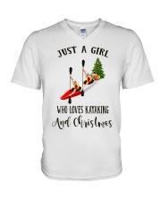 Kayaking - Just A Girl V-Neck T-Shirt thumbnail