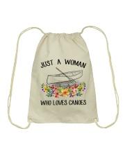 Canoeing - Just A Woman Who Loves Canoes Drawstring Bag thumbnail