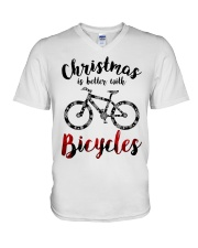 Cycle - Christmas Is Better With Bicycles V-Neck T-Shirt thumbnail