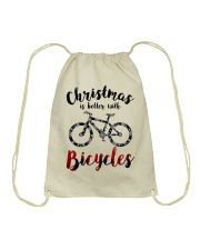Cycle - Christmas Is Better With Bicycles Drawstring Bag thumbnail