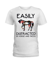 Horse - Easily Ditracted By Horse And Tacos Ladies T-Shirt thumbnail
