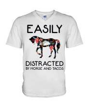 Horse - Easily Ditracted By Horse And Tacos V-Neck T-Shirt thumbnail