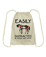 Horse - Easily Ditracted By Horse And Tacos Drawstring Bag thumbnail