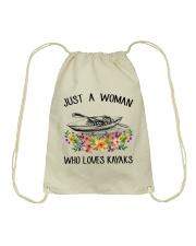 Kayaking - Just A Woman Who Loves Kayaks Drawstring Bag thumbnail