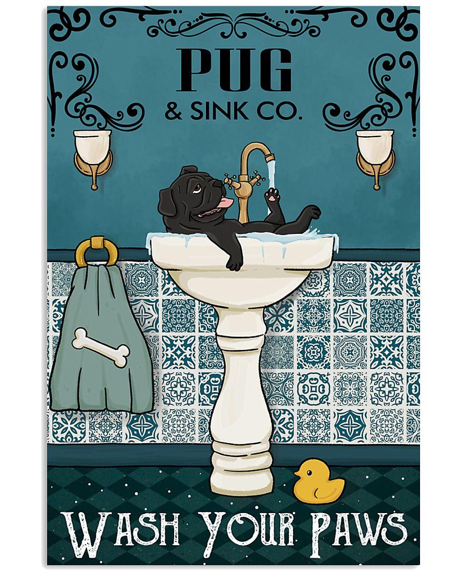 Black Pug Sink Paw 16x24 Poster