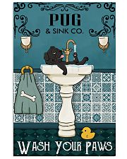Black Pug Sink Paw 16x24 Poster front