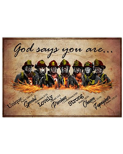 Firefighter God Says You Are Poster