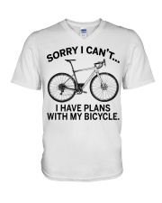 Cycle - I Have Plans With My Bicycle V-Neck T-Shirt thumbnail