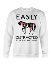 Horse - Easily Ditracted By Horse And Wine Crewneck Sweatshirt thumbnail
