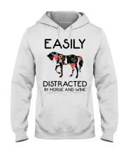 Horse - Easily Ditracted By Horse And Wine Hooded Sweatshirt thumbnail