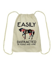 Horse - Easily Ditracted By Horse And Wine Drawstring Bag thumbnail