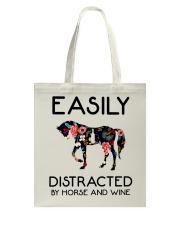 Horse - Easily Ditracted By Horse And Wine Tote Bag thumbnail