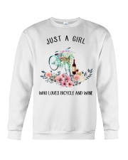 Cycle - Just A Girl  Who Loves Bicycle And Wine Crewneck Sweatshirt thumbnail