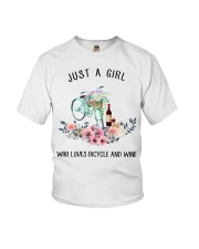 Cycle - Just A Girl  Who Loves Bicycle And Wine Youth T-Shirt thumbnail