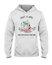 Cycle - Just A Girl  Who Loves Bicycle And Wine Hooded Sweatshirt thumbnail