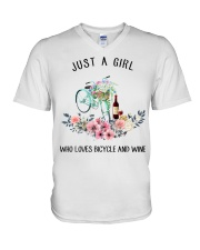 Cycle - Just A Girl  Who Loves Bicycle And Wine V-Neck T-Shirt thumbnail