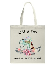 Cycle - Just A Girl  Who Loves Bicycle And Wine Tote Bag thumbnail