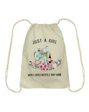 Cycle - Just A Girl  Who Loves Bicycle And Wine Drawstring Bag thumbnail