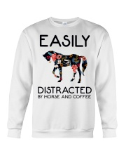 Horse - Easily Ditracted By Horse And Coffee Crewneck Sweatshirt thumbnail