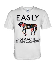 Horse - Easily Ditracted By Horse And Coffee V-Neck T-Shirt thumbnail