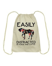 Horse - Easily Ditracted By Horse And Coffee Drawstring Bag thumbnail