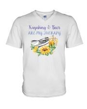 Kayaking - Kayaking And Beer Are My Therapy V-Neck T-Shirt thumbnail