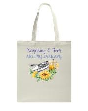 Kayaking - Kayaking And Beer Are My Therapy Tote Bag thumbnail