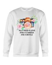 Cycle - All I Need Is Love And Camera And Bicycle Crewneck Sweatshirt thumbnail