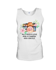 Cycle - All I Need Is Love And Camera And Bicycle Unisex Tank thumbnail