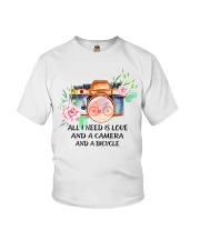 Cycle - All I Need Is Love And Camera And Bicycle Youth T-Shirt thumbnail