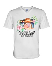 Cycle - All I Need Is Love And Camera And Bicycle V-Neck T-Shirt thumbnail