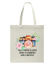 Cycle - All I Need Is Love And Camera And Bicycle Tote Bag thumbnail