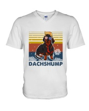 Funny Independence Day Dachshump V-Neck T-Shirt thumbnail