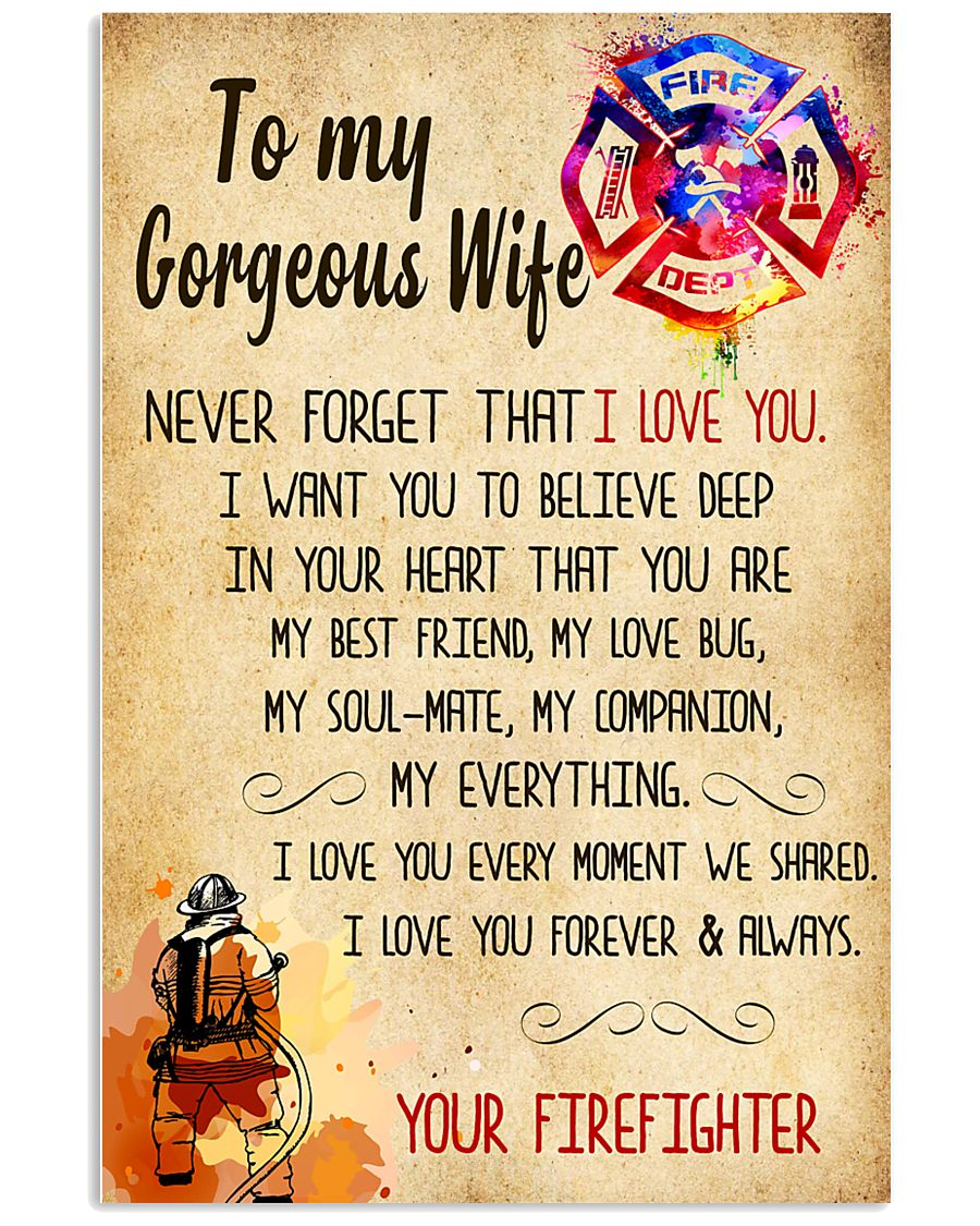 Firefighter - To My Gorheous Wife 11x17 Poster