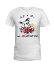 Horse - Just A Girl Who Loves Horse And Tacos Ladies T-Shirt thumbnail