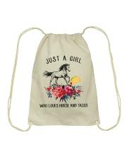 Horse - Just A Girl Who Loves Horse And Tacos Drawstring Bag thumbnail
