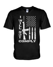 I WILL NOT COMPLY Gun Ar-15  V-Neck T-Shirt thumbnail