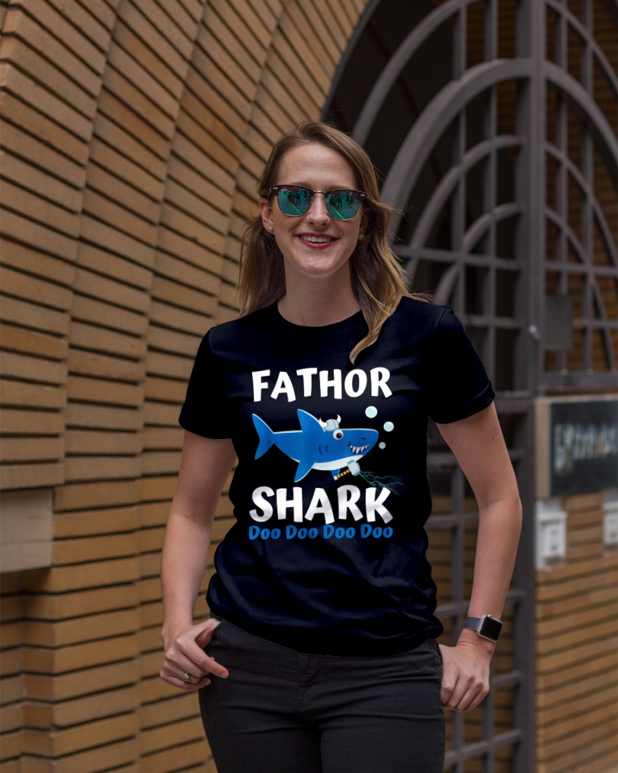 Fathor Shark Shirt Father's Day Gift Premium Fit Ladies Tee