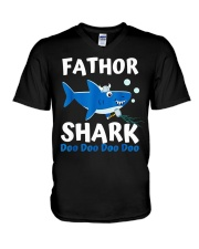 Fathor Shark Shirt Father's Day Gift V-Neck T-Shirt thumbnail