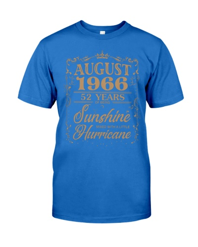 T Shirt AUGUST 1966 52 YEARS SUNSHINE HURRICANE