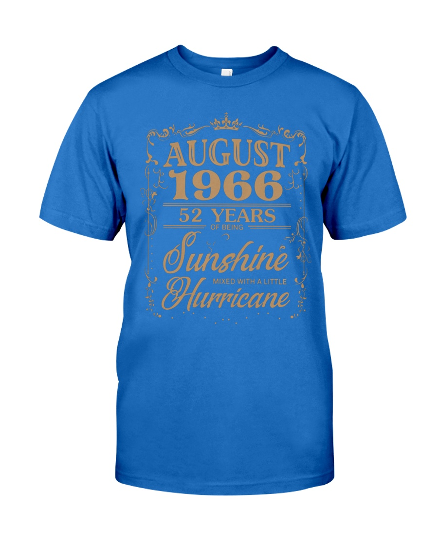 T Shirt AUGUST 1966 52 YEARS SUNSHINE HURRICANE Premium Fit Mens Tee