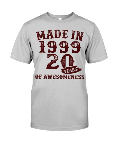 Vintage Awesome Made In 1999 20th Birthday