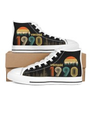 Vintage 1990 Sunset 30th Birthday Women's High Top White Shoes outside-right-inside-right