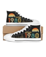 Vintage 1980 Sunset 40th Birthday Women's High Top White Shoes outside-right-inside-right