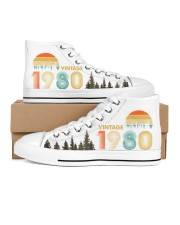 Vintage 1980 Sunset 40th Birthday Women's High Top White Shoes tile