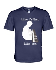 Like father like son piano V-Neck T-Shirt front