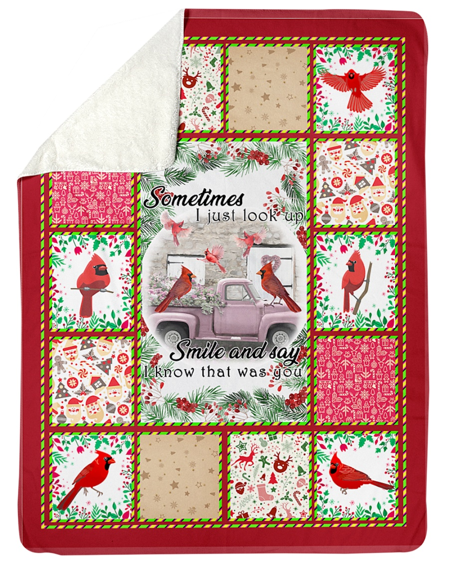 "Bird Sometimes I Just Look Up Large Sherpa Fleece Blanket - 60"" x 80"""