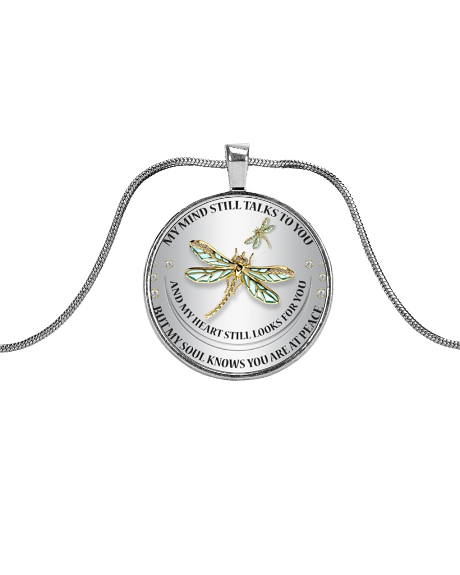 Dragonfly My Mind Still Talks To You RPM002 Metallic Circle Necklace