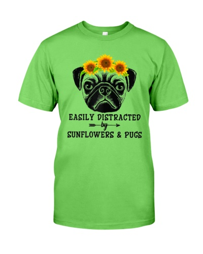Easily Distracted By Sunflowers And Pugs